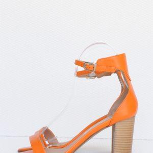 Sandale portocalii piele naturala