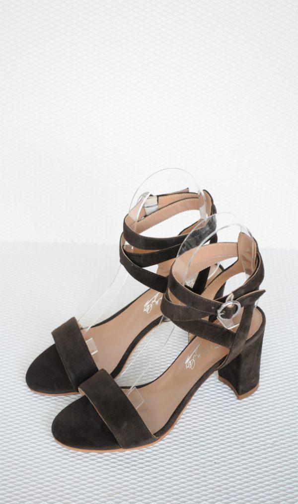 Sandale maro cu toc gros