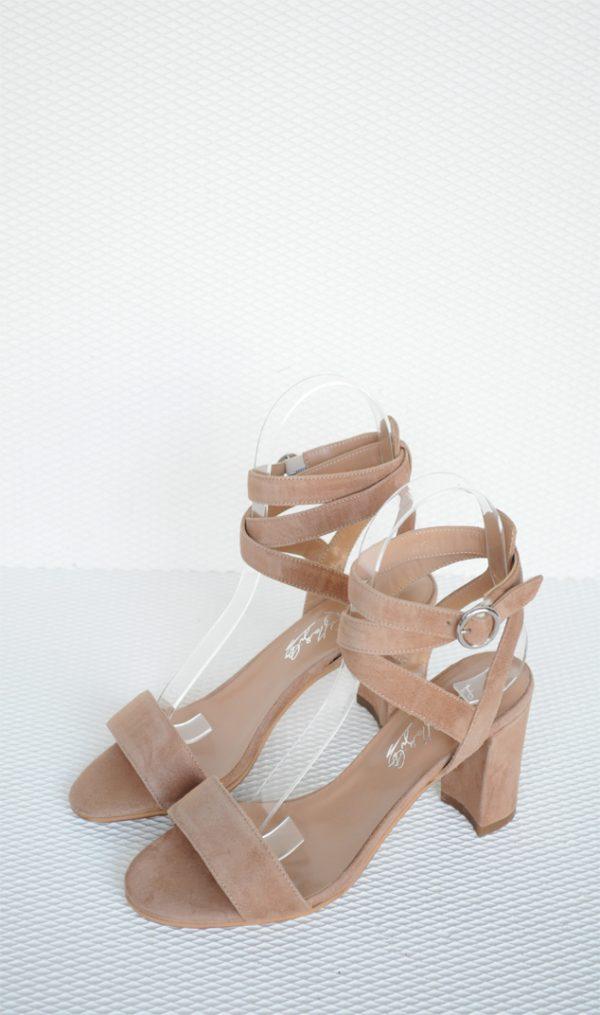 Sandale crem piele intoarsa