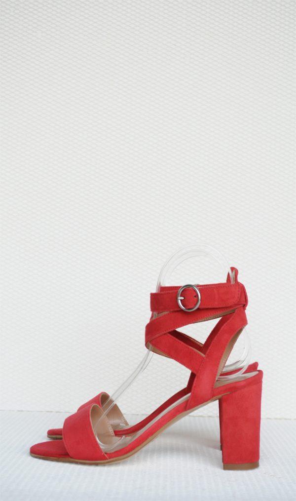 Sandale rosii cu toc gros