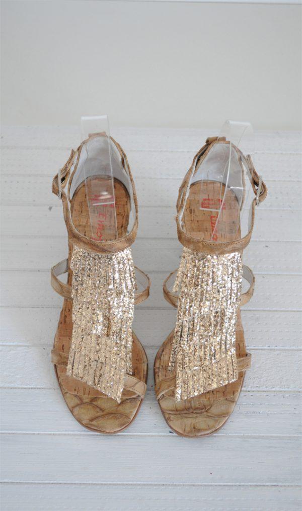 Sandale aurii piele naturala