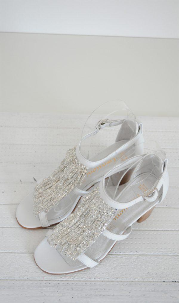 Sandale albe cu franjuri piele naturala