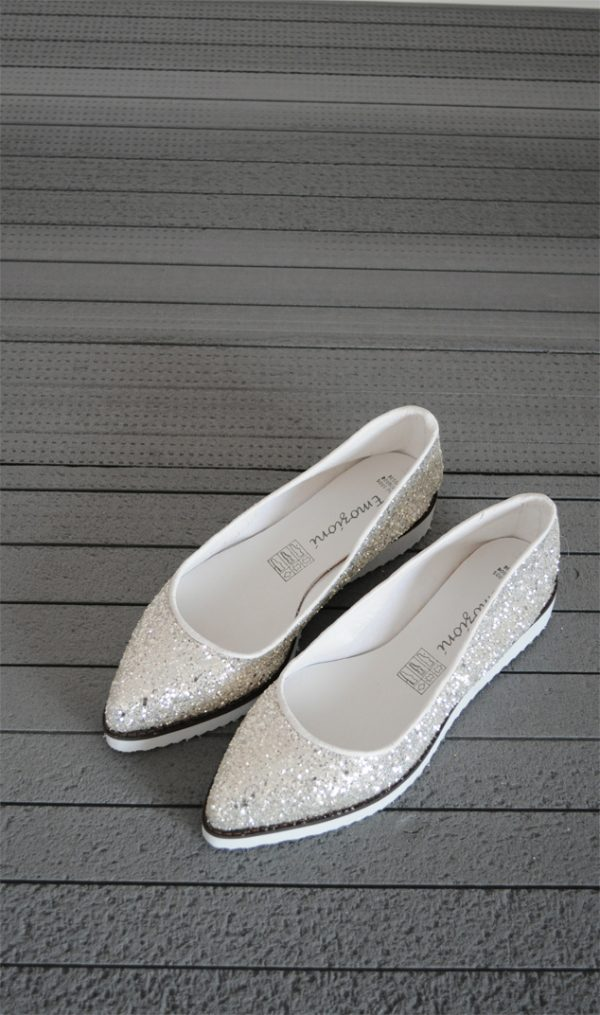 Balerini glitter argintiu