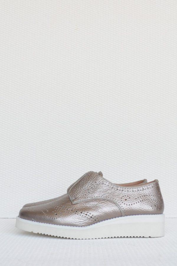 Pantofi argintii cu elastic piele naturala
