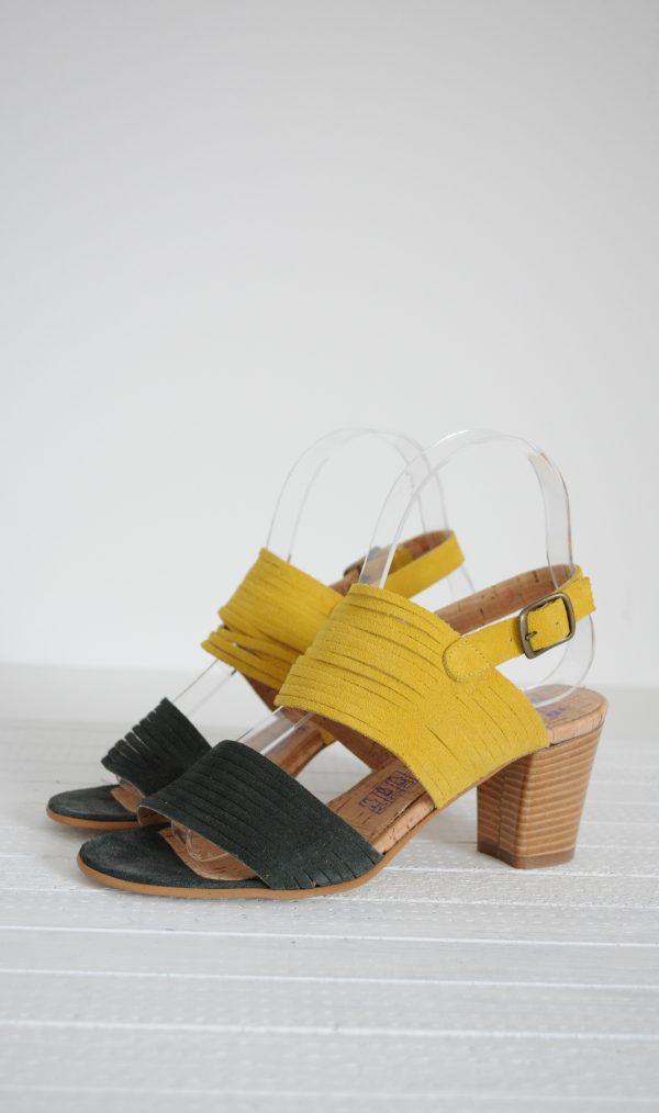 Sandale piele intoarsa in doua culori