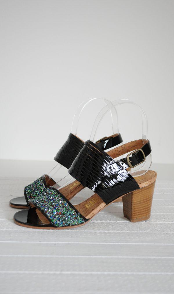 Sandale glitter si piele naturala