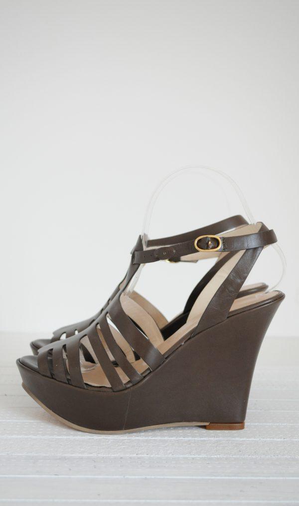 Sandale maro inchis cu platfroma