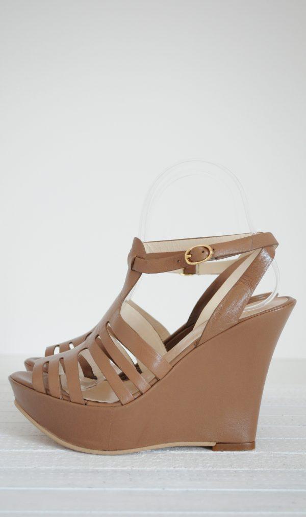 Sandale piele naturala cu platforma
