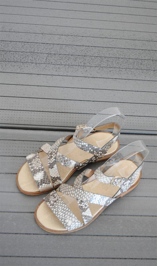 Sandale piele naturala gri