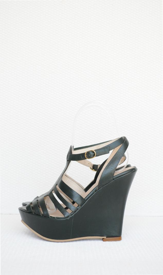 Sandale verzi piele naturala cu platforma