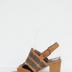 Sandale maro cu toc mic