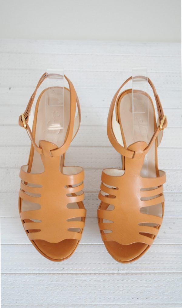Sandale galben mustar cu platforma