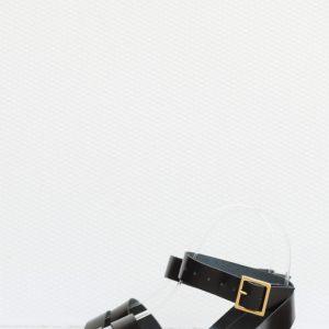 sandale negre piele naturala cu doua barete