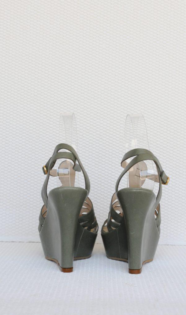 Sandale verde deschis cu platforma