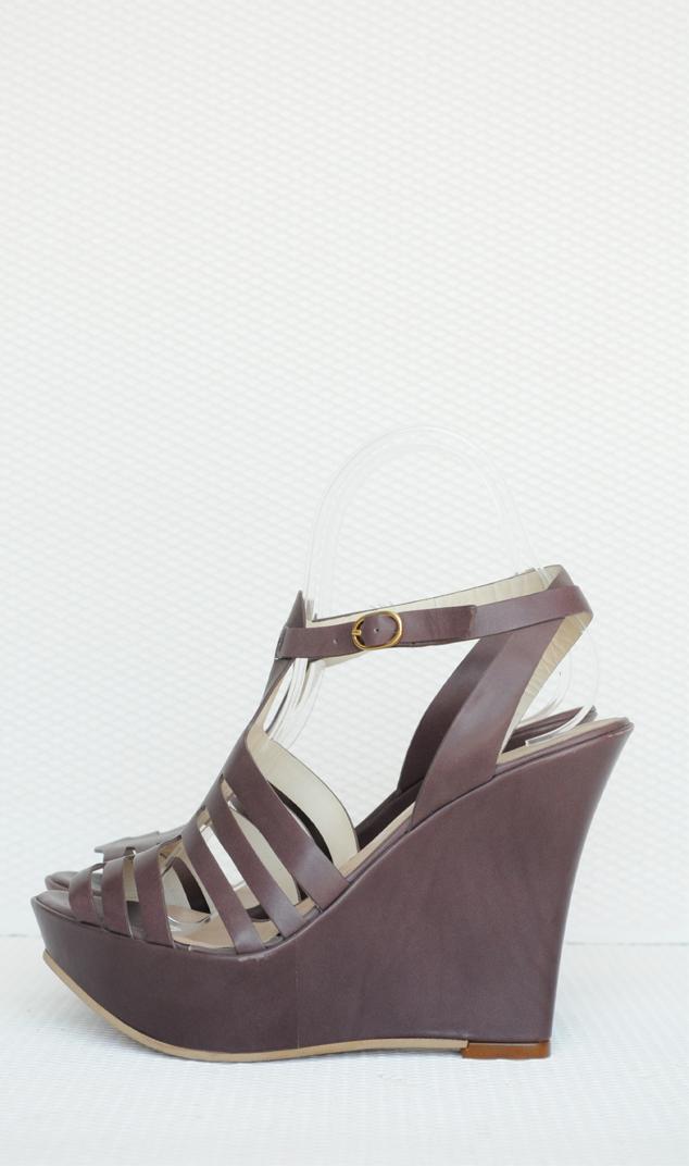 Sandale mov piele naturala cu platforma