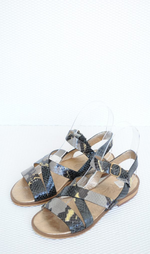 Sandale piele naturala snake print