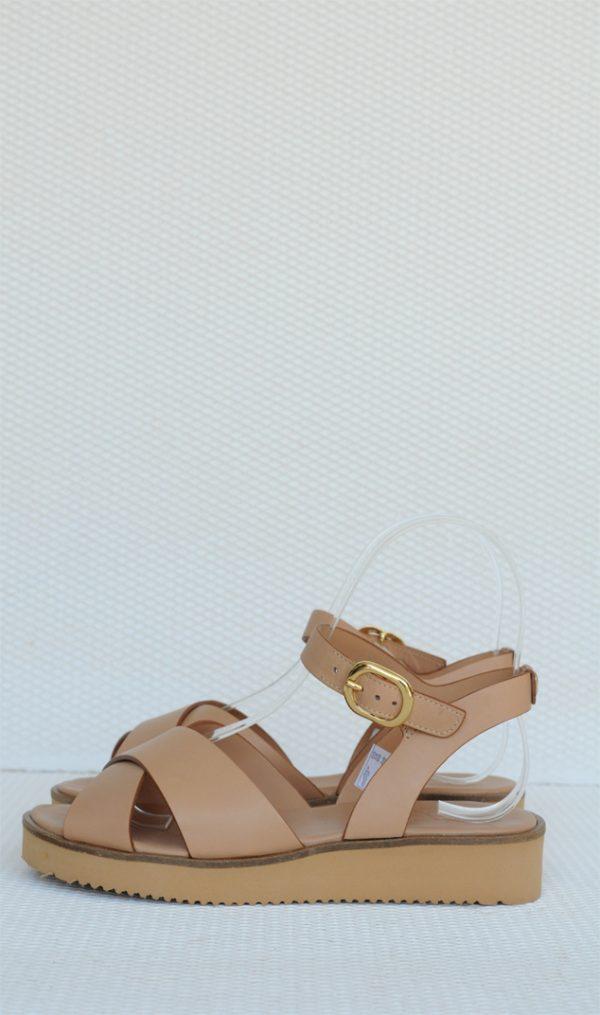 Sandale crem piele naturala cu talpa joasa