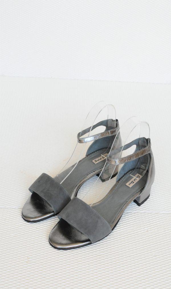 Sandale Ivy gri cu argintiu
