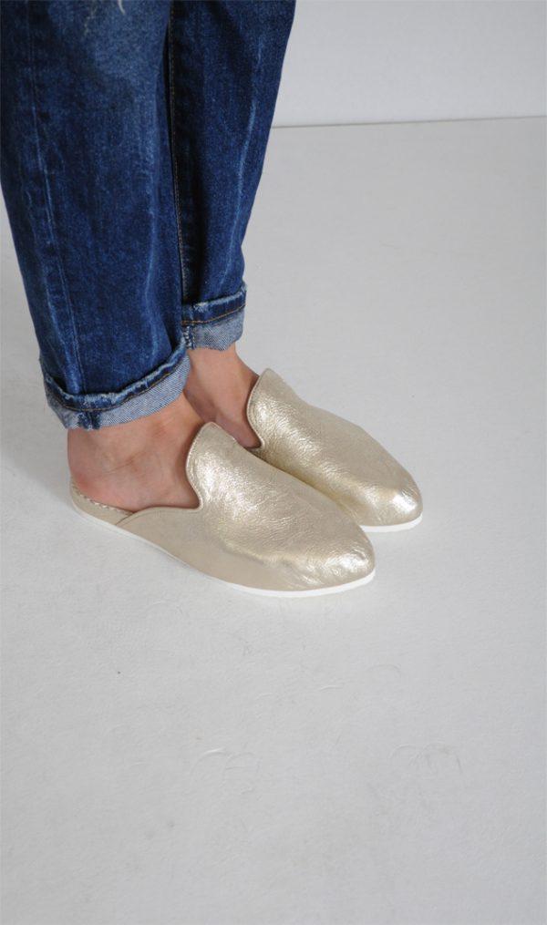 Papuci Lipa Lipa aurii piele naturala