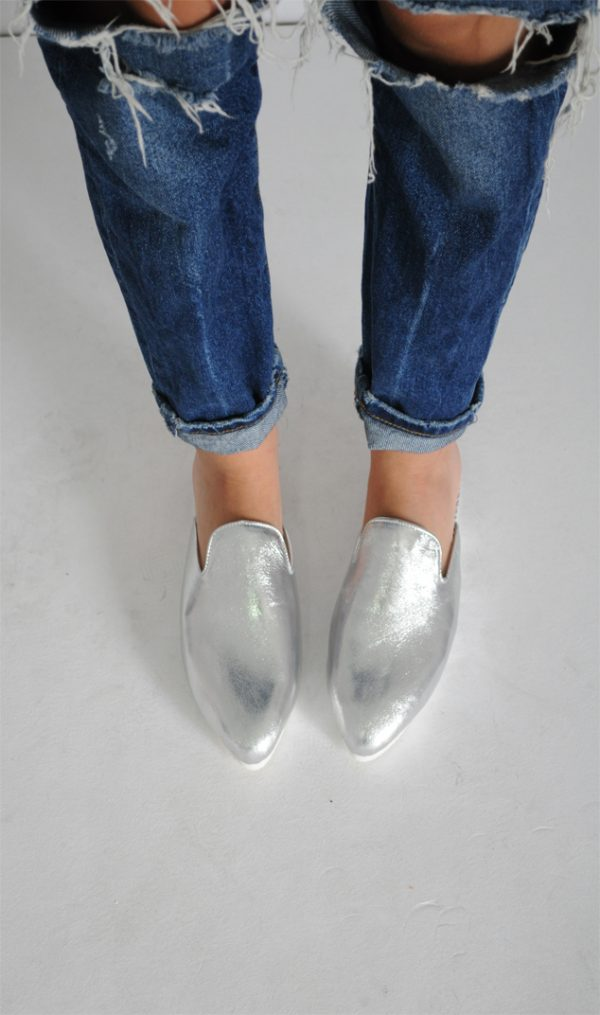 Papuci Lipa Lipa argintii piele naturala