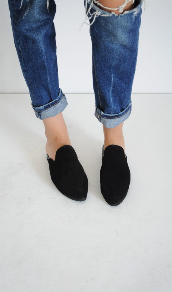 Papuci Lipa Lipa negri piele intoarsa