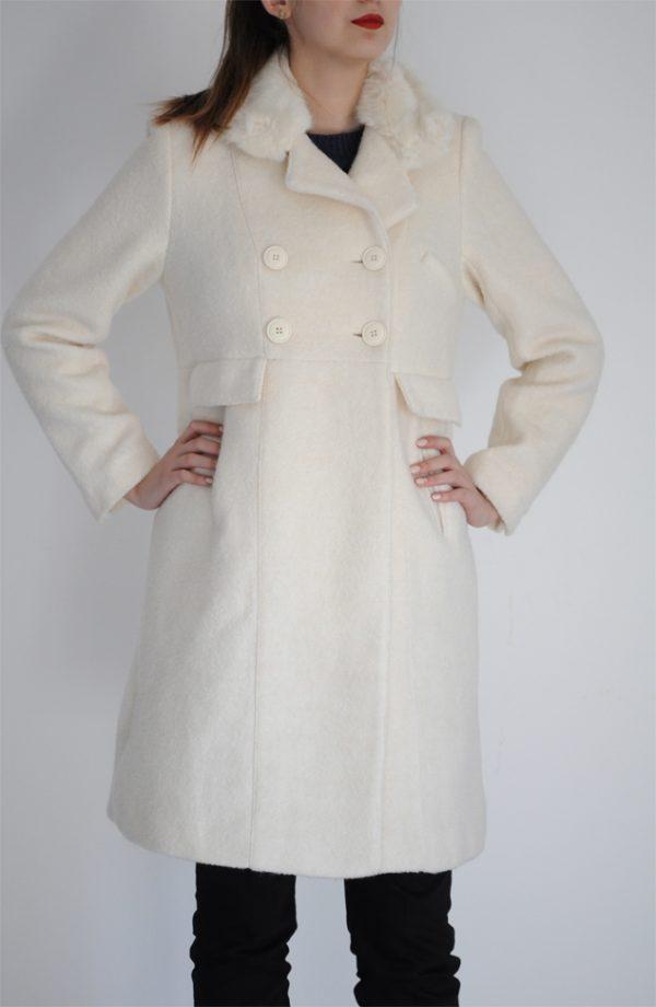 Palton alb cu blanita