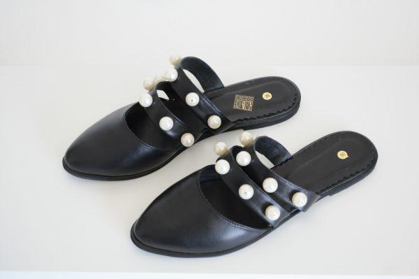 Papuci Lipa negri cu margele