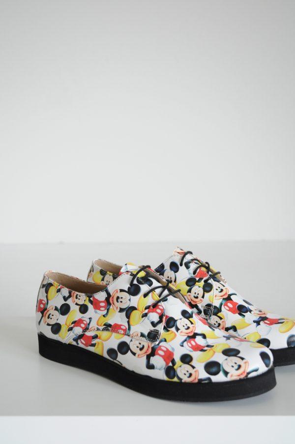 Pantofi Mickey Mouse cu siret talpa neagra