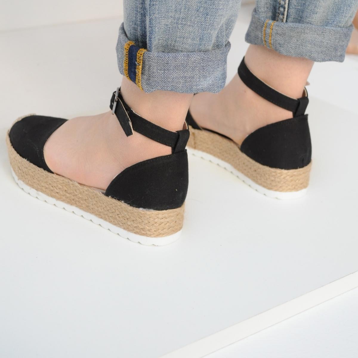 Sandale Doris negre cu platforma