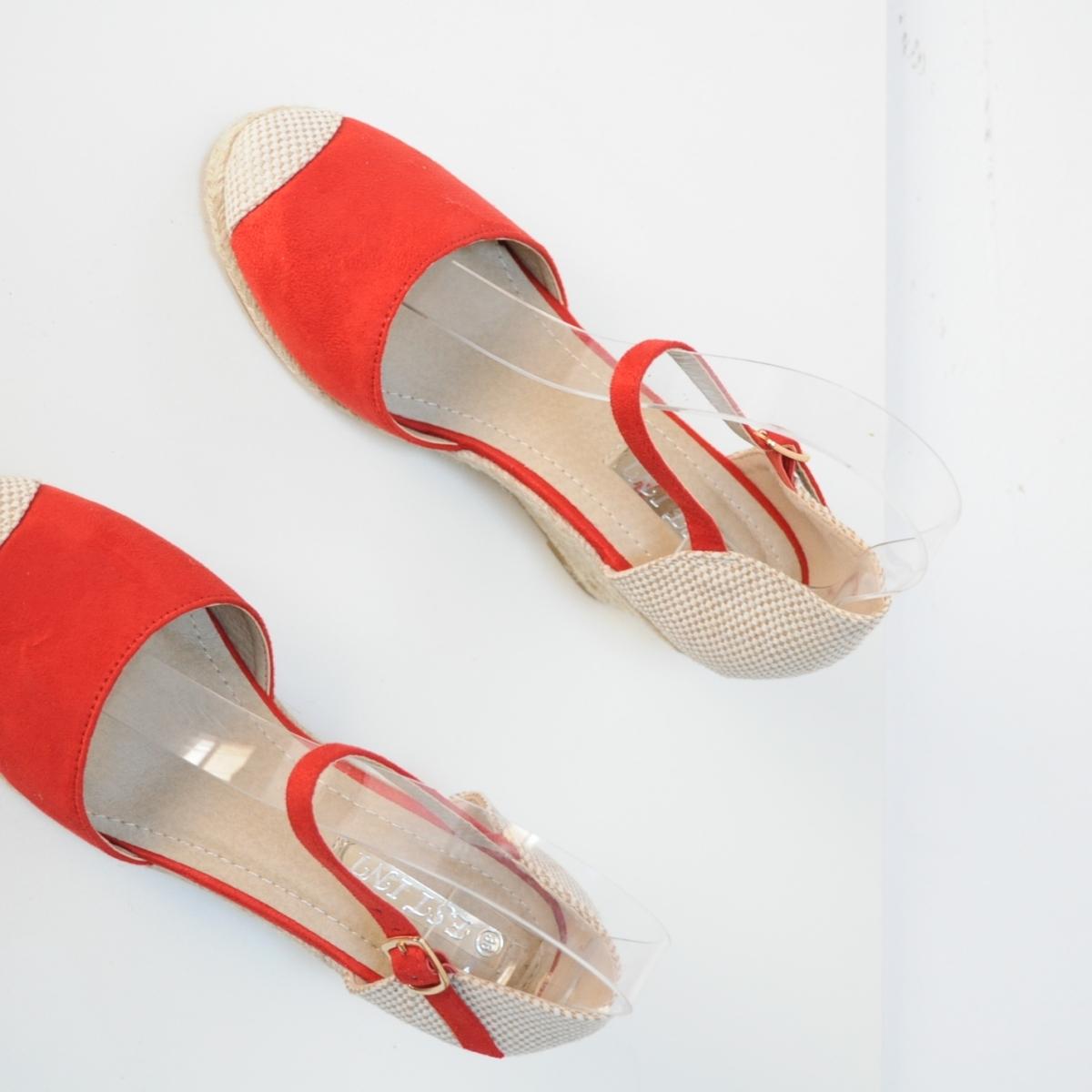Sandale Erika rosii cu platforma