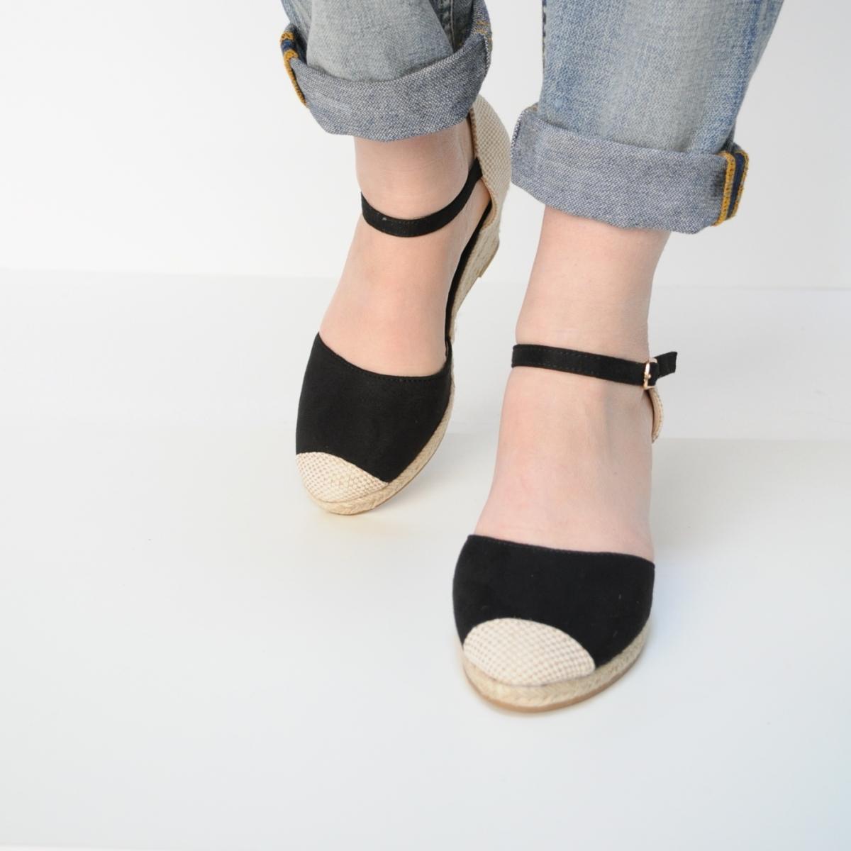 Sandale Erika negre cu platforma