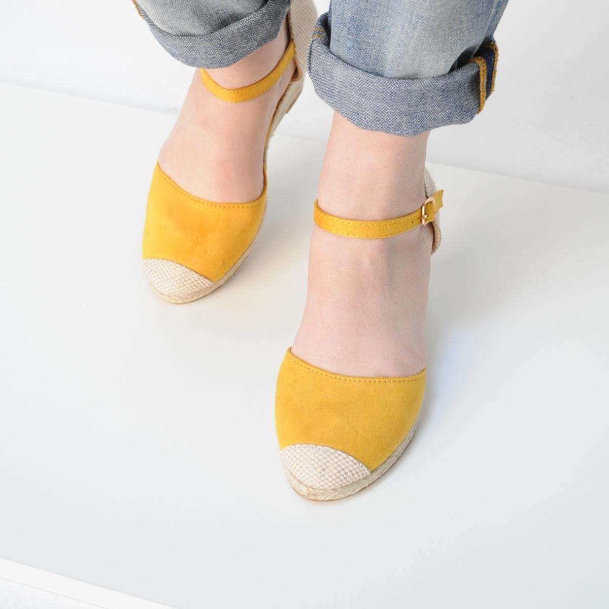 Sandale Erika galben cu platforma