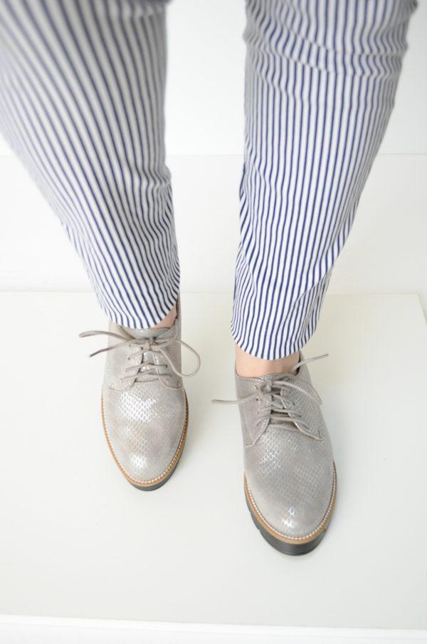 Pantofi gri talpa inalta piele eco