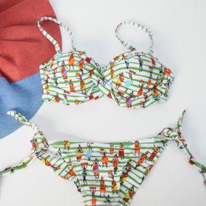 Costum de baie Mery alb cu desene