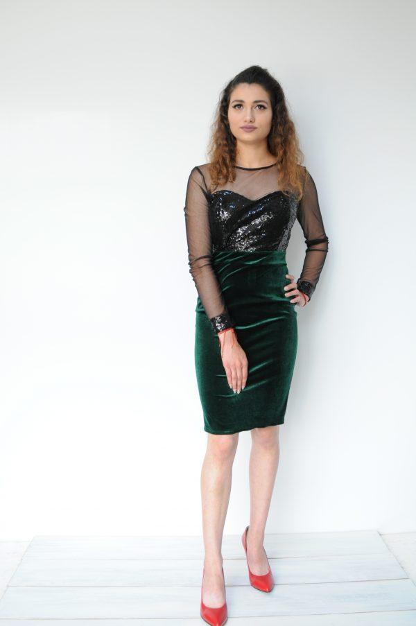 Rochie catifea verde cu paiete