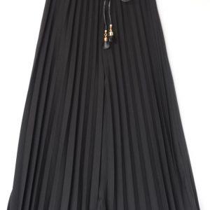 Pantaloni tip fusta negru cu pliuri