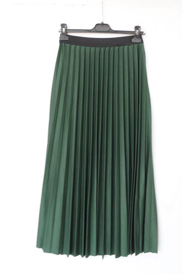 Fusta plisata lunga verde