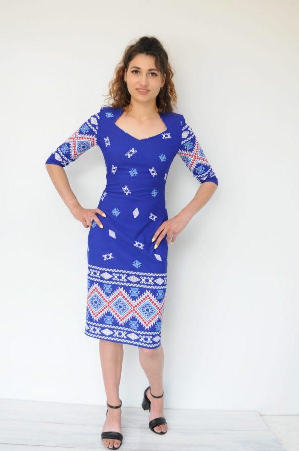 Rochie motiv traditional albastra