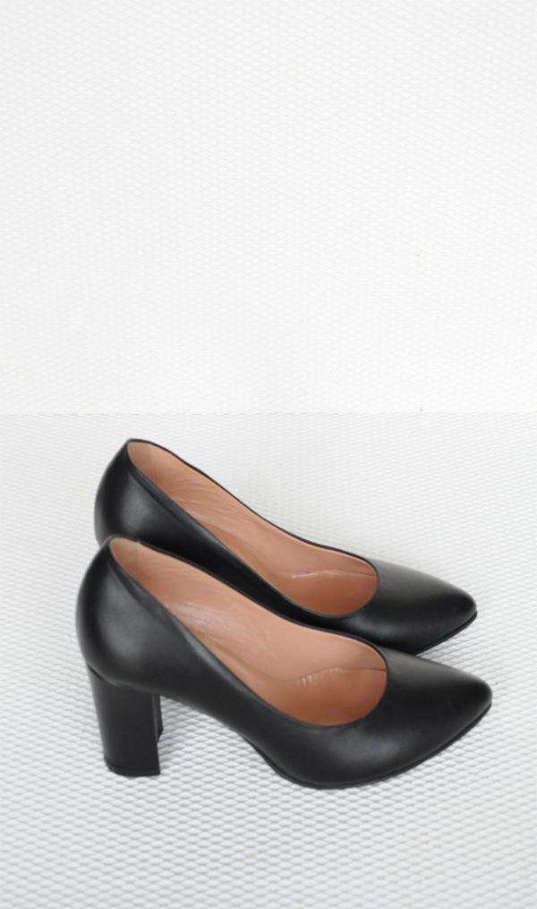 Pantofi piele naturala toc gros