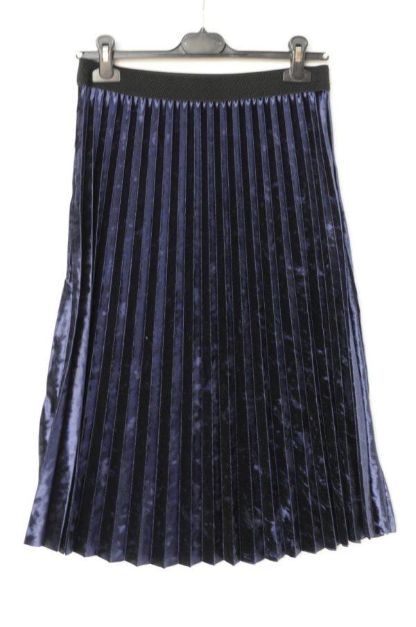 Fusta plisata catifea midi bleumaren