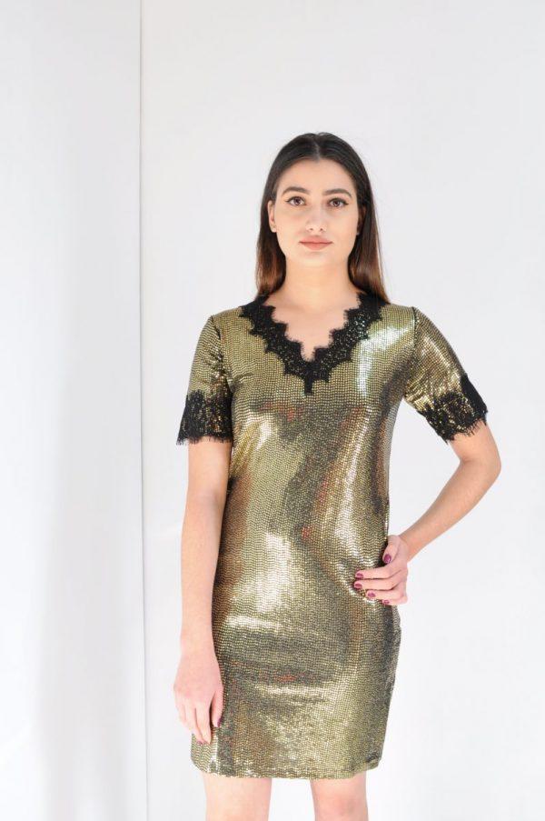 Rochie paiete aurii