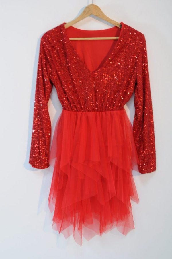 Rochie rosie cu tul si paiete