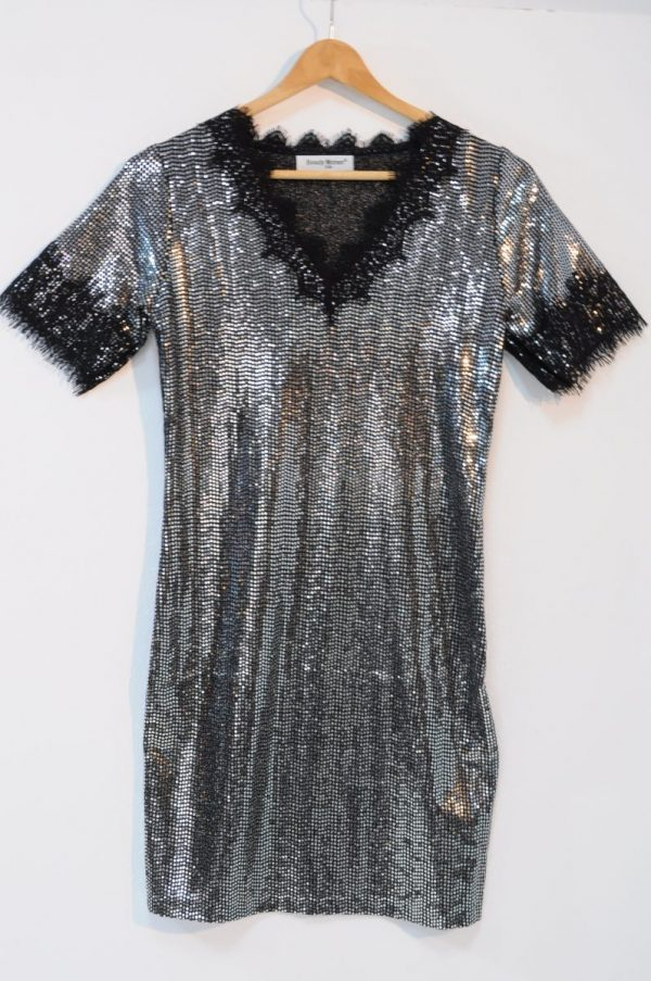 Rochie paiete argintii