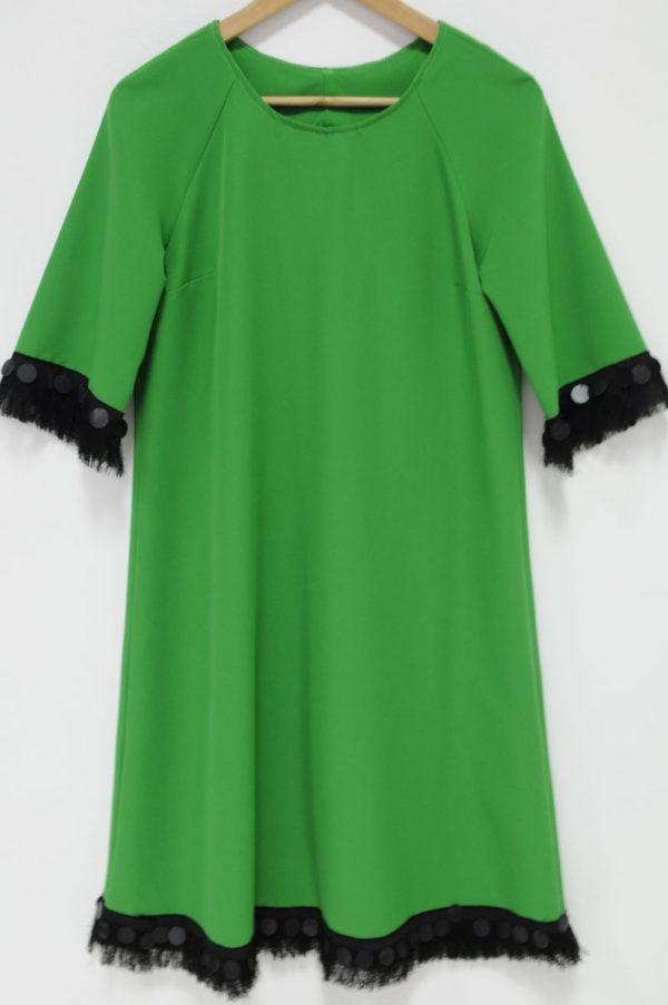 Rochie Donna verde cu banuti si franjuri