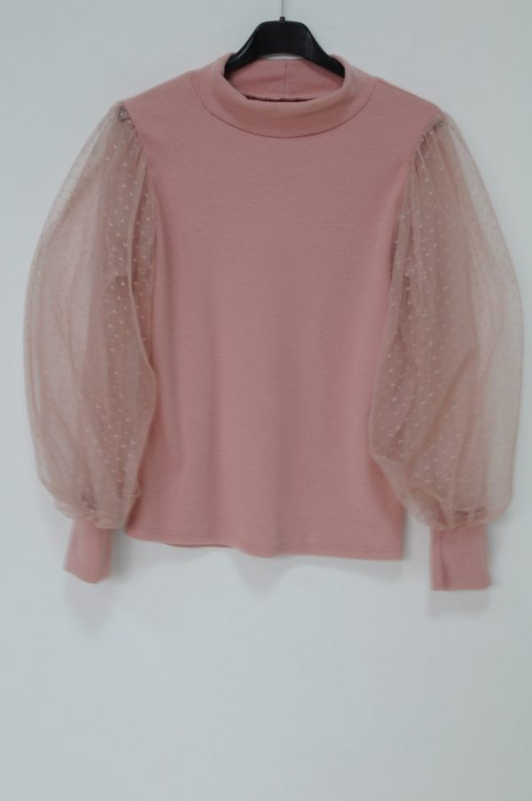 Bluza roz cu maneci bufante