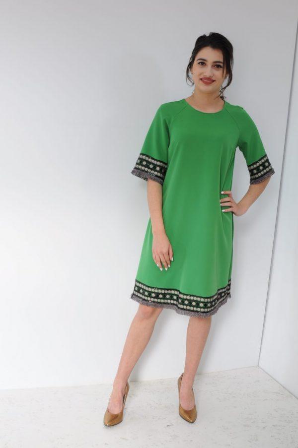 Rochie Donna verde cu motiv traditional