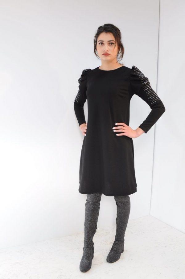 Rochie maneci bufante neagra cu aplicatii