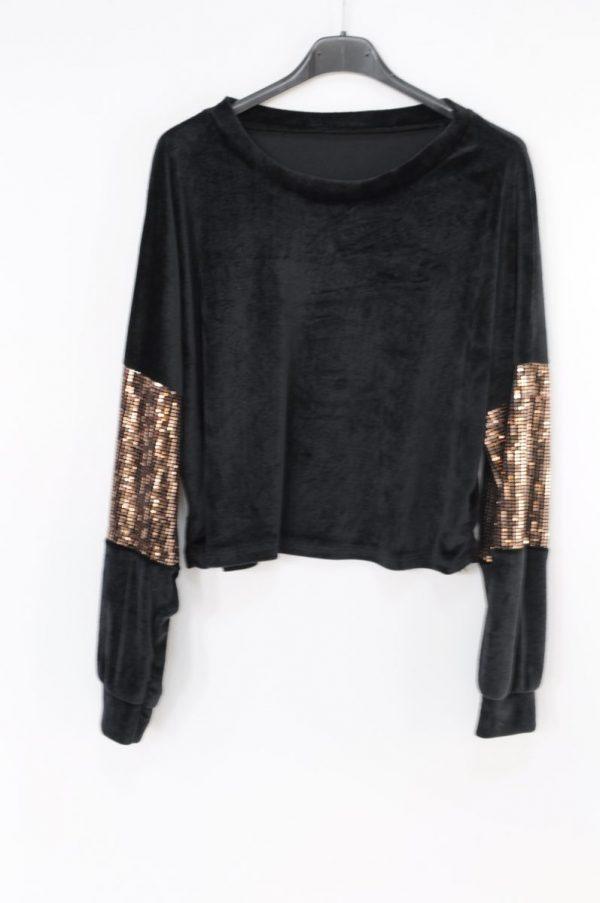 Bluza Marina negru cu paiete aurii