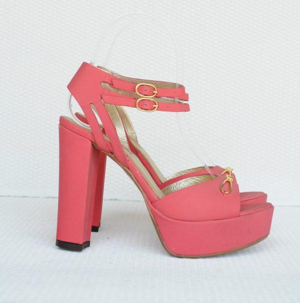 Sandale roz cu platforma piele naturala